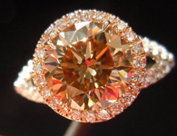 Halo Diamond Ring: 2.00ct Fancy Yellowish Brown Round Platinum 18kt Rose Gold GIA R3569
