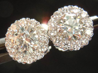 Diamond Halo Earrings: .97ct tw Diamond Halo Earrings in 18K White Gold SO3717