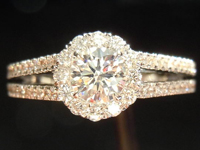 SOLD....Diamond Halo Ring: .35ct G VS1 Round Brilliant Diamond Split Shank Lots of Sparkle R3718