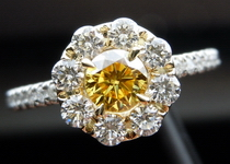 SOLD....Halo Diamond Ring: .36ct Round Brilliant Fancy Vivid Yellow SI2 GIA Seamless Halo Platinum R3730