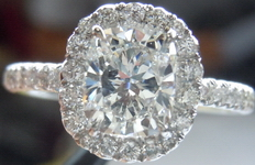 SOLD....Halo Diamond Ring: 1.02ct Cushion Cut G/SI1 GIA Platinum Handmade Halo R3726