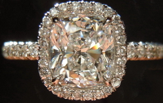 "SOLD....Halo Diamond Ring: 1.10ct Cushion Cut E/VVS2 GIA Plat ""Uber Ring R3727"