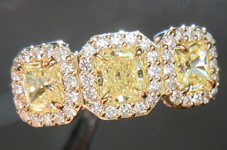 SOLD....Three Stone Halo Ring: .62ctw Fancy Light Yellow Radiant Cut Diamonds Halo Diamond Ring R3736