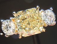 SOLD....Three Stone Diamond Ring: 1.67ct Radiant Cut Y-Z SI1 GIA Handmade Platinum R3740