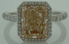 "SOLD......Halo Diamond RIng: 2.05ct Radiant Cut Light Yellow-Brown ""Uber"" Halo Pink gold Interesting color R3744"