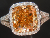 "Halo Diamond Ring: 3.07ct Cushion Cut Fancy Brown Yellow ""Uber"" Halo Ring GIA R3748"