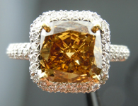 SOLD....Halo Diamond Ring: 2.03ct Cushion Cut Fancy Deep Brown-Yellow SI1 GIA Pave Masterpiece R3749