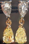 SOLD....Diamond Earrings: Natural Fancy Yellow and F color Pear Shape Dangles GIA R3729