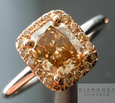 Brown Diamond Ring: 1.02ct Radiant Cut Fancy Deep Brown-Yellow SI2 GIA Brown Diamond Halo  R3760