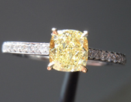 SOLD....Diamond Ring: .60ct Cushion Cut Fancy Yellow VVS2 GIA Platinum and 18K Gold R3791