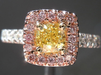 "SOLD...Diamond Halo ring: .54ct Cushion Cut Fancy Intense Yellow VS1 GIA ""Pink Lemonade"" R3794"
