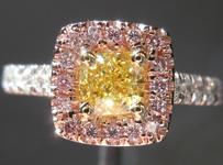 "SOLD...Diamond Halo ring: .54ct Cushion Cut Fancy Intense Yellow VS1 GIA ""Pink Lemonade"" R3794"