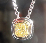 Diamond Pendant: .65ct Cushion Cut Fancy Intense Yellow SI1 GIA 18K and Platinum w/ 16in. chain R3795