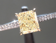 Yellow Diamond Ring: .52ct Radiant Cut Fancy Yellow VS1 GIA R3804