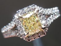 Diamond Ring: .55ct Radiant Cut Fancy Yellow VS2 GIA Halo Ring R3805