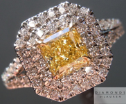 Yellow Diamond Ring: .66ct Radiant Cut Fancy Yellow SI1 GIA Split Shank Double Halo R3808