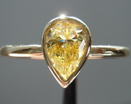 Diamond Ring: .74ct Pear Shape Fancy Yellow SI2 GIA Gorgeous Shape R3803