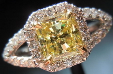 SOLD.... Halo Diamond Ring: .66ct Fancy Yellow Radiant Split Shank 18kt GIA R3817
