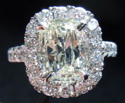 SOLD....Halo Diamond Ring- 2.01 Soft Yellow Daussi Cushion Platinum ring- Learn the BS of non GIA reports R3829