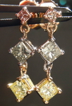 SOLD.....Diamond Earrings: .82ct Pink Grey Yellow Dangles UNIQUE 18kt R3777