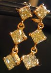 SOLD....Diamond Earrings: 1.41ct Natural Yellow Radiant Dangle Earrings 18kt R3767