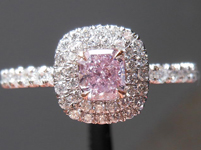 SOLD....Halo Pink Diamond Ring: .32ct Purple-Pink Cushion Diamond Uber Dbl Halo GIA R3858