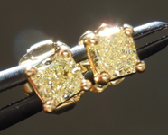 SOLD.....Diamond Earrings: .36ct tw Fancy Light Yellow Radiant Cut Diamond Studs 18kt R3843