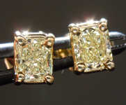 SOLD...Diamond Earrings: .54ct tw Fancy Light Yellow Radiant Cut Diamond Studs 18kt R3837