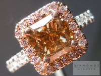 SOLD.....Orange-Brown Diamond Ring: 1.56ct Radiant Cut Fancy Orange-Brown I1 Pink Diamond Halo Ring R3761