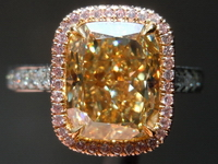 Halo Diamond Ring: 4.09ct Cushion Cut Fancy Brownish Yellow VS1 GIA Pink Diamond UBER Ring R3861