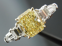 Five Stone Diamond Ring: 1.13 Radiant Cut Fancy Light Yellow VS2 GIA R3867