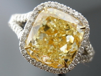 "SOLD....Halo Diamond Ring: 4.35ct Fancy Light Yellow VS2 Cushion ""Uber"" Halo Ring R3871"