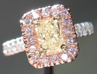 SOLD....Diamond Halo Ring: .45ct Fancy Light Yellow VS2 Radiant Cut Pink, White and Yellow Gold Halo Ring R3845
