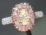 SOLD....Diamond Halo Ring: .24ct Y-Z VS1 Oval Shape Diamond Pink, White and Yellow Gold Halo Ring R3846