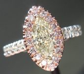 SOLD!!!! Diamond Halo Ring: .43ct Light Yellow Marquise Diamond Pink, White and Yellow Gold Halo Ring R3859