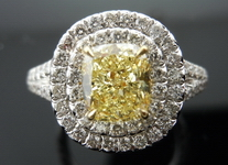 SOLD.....Halo Diamond Ring: 1.21ct Fancy Light Yellow Cushion Stunning Micro-Pave Platinum GIA R3721