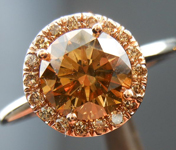SOLD....Diamond Halo Ring: 1.41ct Round Brilliant Fancy Brown Yellow SI2 Brown Diamond Halo  R3899