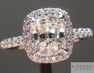 Diamond Ring: 1.18ct Cushion Cut F/I1 GIA Hand Forged Diamond Halo Ring R3264