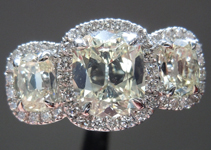 SOLD....Three Stone Ring: 1.00ct M/VS1 Daussi Cushion Three Stone Halo Ring R3916