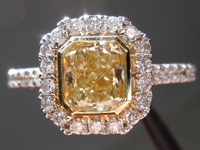 SOLD.... Halo Diamond Ring: 1.00ct  Radiant Cut Fancy Light Yellow SI1 Bezel Set 18K White and Yellow Gold  R3935