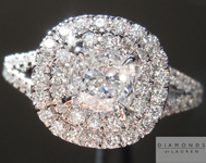SOLD....Colorless Diamond Ring: .58ct Cushion Cut D Internally Flawless GIA Split Shank Double Halo R3932