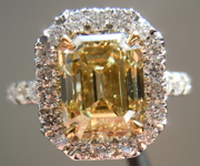 SOLD.....Diamond Halo Ring: 2.87ct Emerald Cut Fancy Brownish Yellow SI1 GIA Rare Beauty R3938
