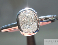 Colorless Diamond Ring: .70ct Cushion Cut F/VS1 GIA Bezel Set Platinum Ring R3934