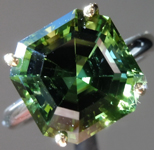SOLD...Green Tourmaline Ring: Precision Cut 6.60ct Asscher Cut Green Tourmaline Ring R3889