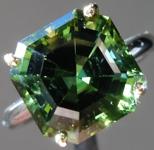 SOLD...Green Tourmaline Ring: Precision Cut 6.60ct Asscher Cut Green Tourmaline Ring R3889