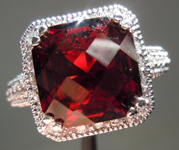 Garnet and Diamond Ring: Precision Cut 5.55ct Tanga Garnet Statement Piece in 14K Gold  R3895