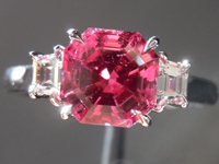 SOLD...Three Stone Ring: Precision Cut 1.66ct Mahenge Spinel Asscher Cut Handmade Ring R3907