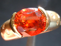 Spessartite Garnet and Diamond Ring: Precision Cut 2.84ct Spessartite Garnet Oval Shape 18K Gold R3908