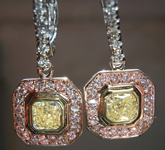 "SOLD......Diamond Halo Earrings: Fancy Light Yellow ""Pink Lemonade"" Diamond Lever Backs Bezel Set R3838"