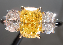 SOLD...Three Stone Colored Diamond Ring: 1.52ct Fancy Vivid Yellow Cushion Diamond Colorless Side Stones R3945